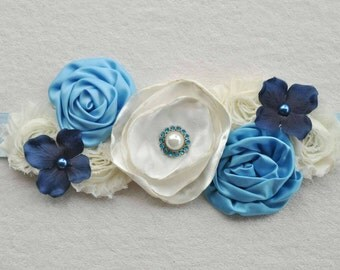 Maternity Sash Blue and Ivory, Floral Maternity Belt Photography Prop