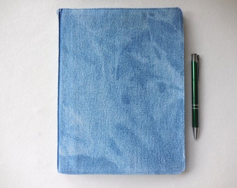 Journal Cover made from upcycled denim over composition book, for journaling, drawing, poetry, notes, book cover for notebook protection 5
