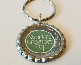 Camouflage and Green World's Greatest Pop Grandfather Metal Flattened Bottlecap Keychain Great Gift