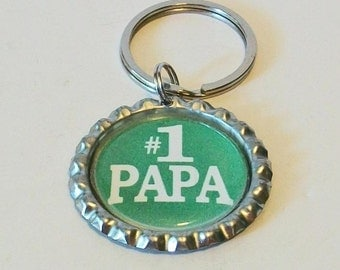 Green and White #1 Pap Granfather Metal Flattened Bottlecap Keychain Great Gift