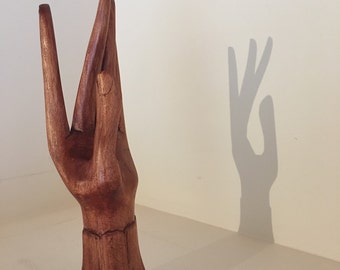 1970s carved wood hand