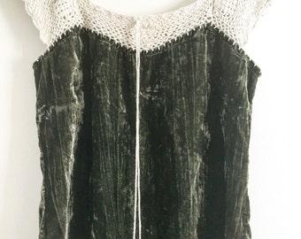 Velvet crochet 70s top  S