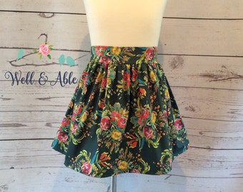 Hunter green floral skirt