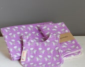 Baby Gift Set -organic cotton flannel, Purple, Foxes, baby bib, burp cloth, receiving blanket