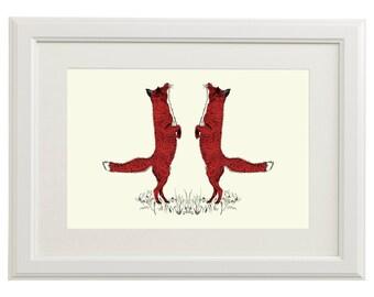 Original Art Print: Silk Screen-Printed Dancing Foxe