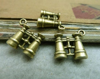 10 pcs 5x15x16mm  Antique Bronze 3D Miniatures Telescopes Charms Pendants
