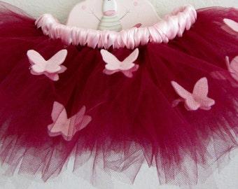 Pink Butterfly Tutu, Toddler Tutu, Flower Girl Tutu, Headband Birthday Tutu, Wedding