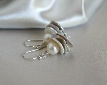 Freshwater pearl keishi drop earrings, pearl drop earrings, pearl jewelry, bridal earrings, pearl gift, wedding jewelry, silver ear wires