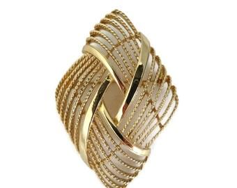 Vintage Monet Diamond Shape Brooch, Gold Tone Braided Pin