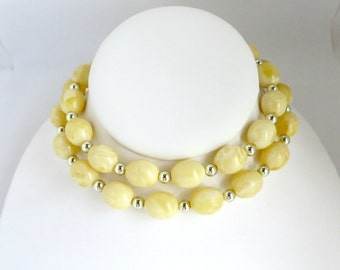 Vintage Yellow and Silver Bead Long Necklace