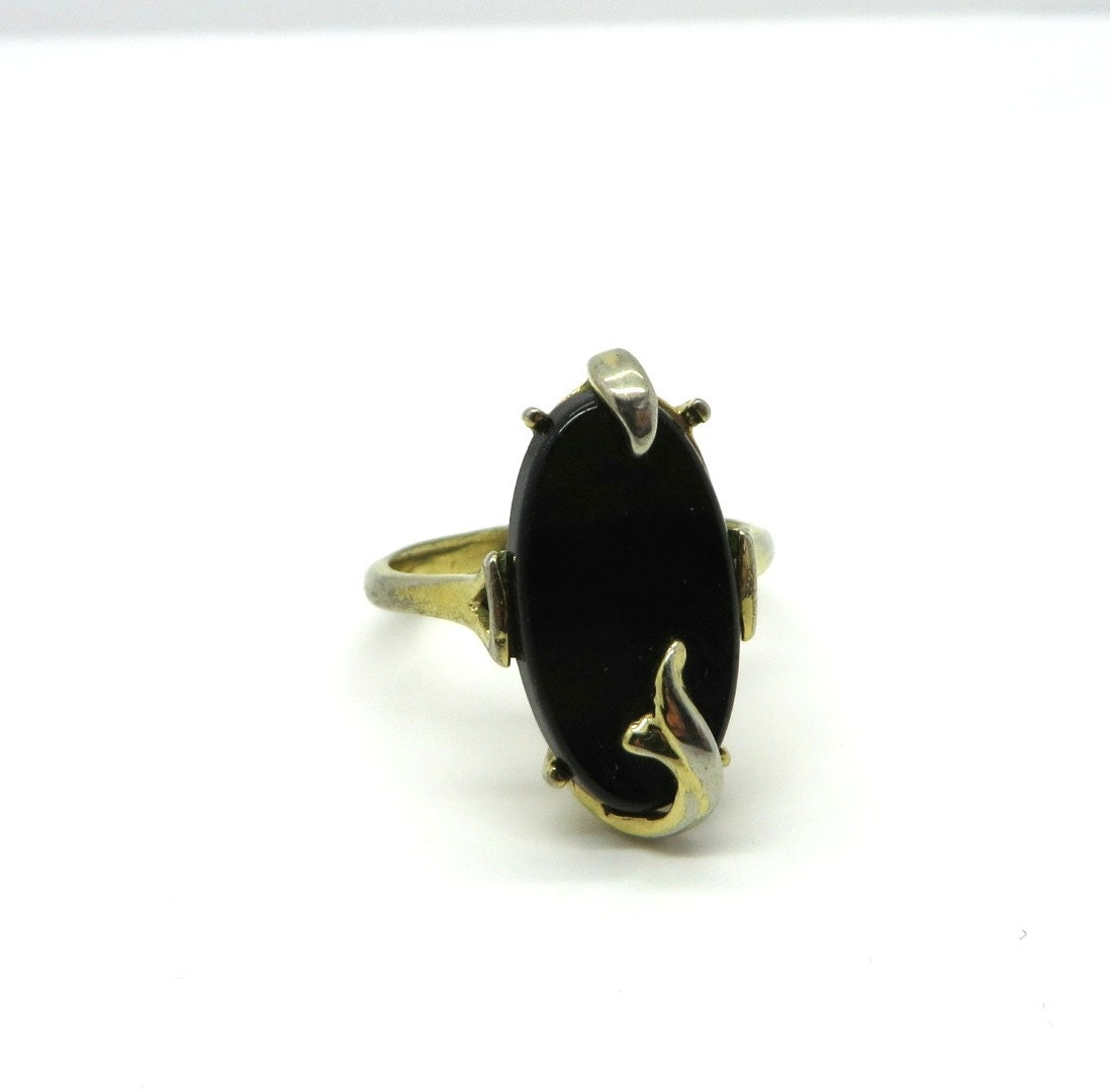 Vintage Avon Black Onyx Ring Gold Tone Nightflower Ring Size