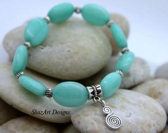 Aquamarine Gemstone Bracelet, Oval bead, gemstone, stretch Bracelet, womens bracelet, Bead Bracelet, stretch bead bracelet,