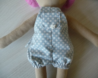 Bib & brace bloomer for the pink Doll or rousse in fabric.