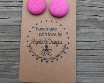 Handmade Fabric Covered Button Earrings Stud or Clip-ons, pink, handmade