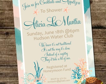 Beach bridal shower/ Engagement Party - :Seashell, Beach, Pastel, Honeymoon Themed Wedding Party or Shower Invitation