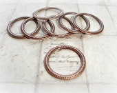 6 Antique Copper Closed Jump Ring Hoop Connector Dot Pattern