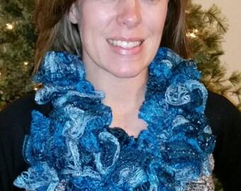 Blue variegated Ruffled Crochet Scarf, handmade FREE SHIPPING