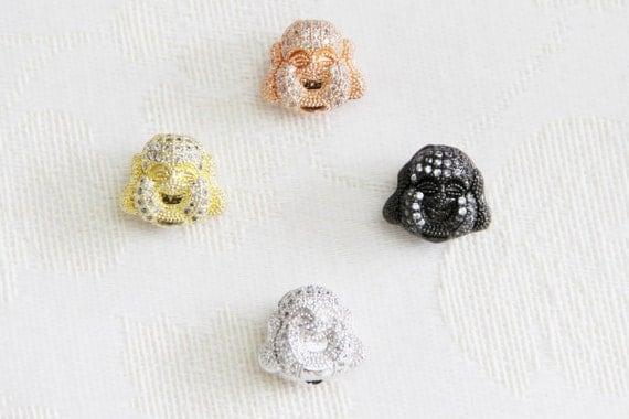 CZ Micro Pave 14x16mm  Buddha Head  Beads