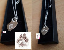 Engraved Paw Print Jewellery Necklace & Pendent- Memorials/ Personalised Gift