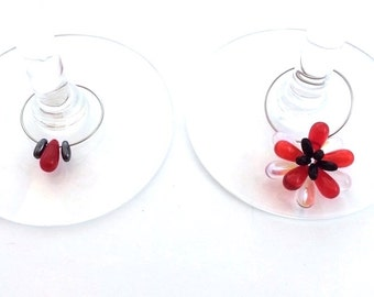 Czech Glass Wine Charms Set of Two
