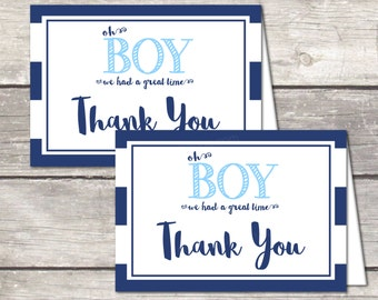 Boy baby shower thank you cards, instant download, oh boy blue stripes, printable file
