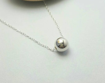 Sterling Silver ball necklace / Silver bead pendant / Simple modern necklace / Bride bridesmaid necklace / Silver pendant
