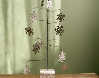 wire christmas tree rustic funky christmas tree with sparkling snowlakes cottage chic decor for - Wire Christmas Tree