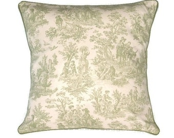 Green and White Toile Decorative Pillow Cover With Green Piping, Toile Throw Pillow Cover, 3 Sizes