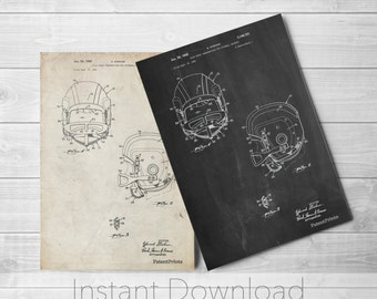 Football Helmet Printables, Football Coach Gift, Vintage Football, Sports Wall Art, Locker Room, PP0419