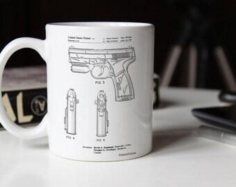 T 1000 Laser Pistol Patent Mug, Gun Enthusiast, Target Practice, Gun Mug, Police Gift, Hand Gun, PP1081