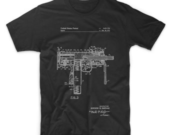 MAC-10 Uzi Patent T Shirt, Gun Enthusiast, Gun Shirt, Gun Show, Gun Clothing, PP0584