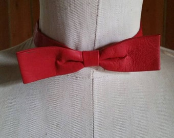 Red leather bow tie with velcro fastening
