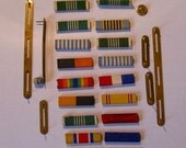 Set of USMC Military Uniform Insignia Service Bars Commendation Ribbons Korean War forward
