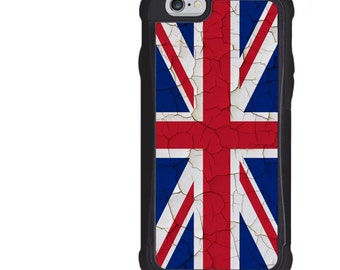 iPhone 5 5s 6 6s 6+ 6s+ SE 7 7+ iPod 5 6 Phone Case, United Kingdom Flag Design, UK, Union Jack, Grunge Wall, Plus