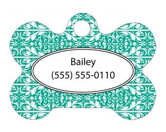 Pet Tag, Dog Tag, One Sided Personalized Pet ID Tag, Bone Shaped Pet Tag, Aluminum, Spring Willow Design