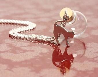 Wish ball cat silver - pendant itself fillable