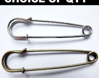 Large Kilt, Safety Pins, No Loops, brooch making jewelry - Silver & Antigue bronze
