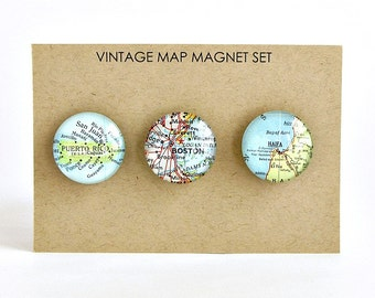 Personalized Map Magnets / World Traveler Gift / Far Away Friends / Travel Theme Baby Shower / Coworker Gifts / Going Away Gift for Friend