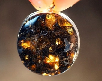 Real Meteorite Pallasite Seymchan Gift from Space Reversable Silver Pendant Rare to Obtain Meteorite Necklace