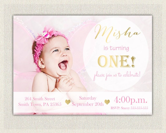 Gold and Pink Girls 1st Birthday Invitation Printable First