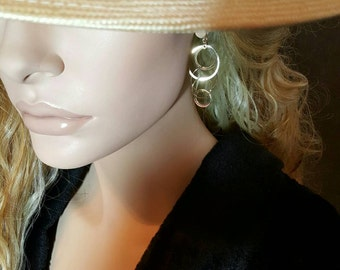 Pair of 14K Yellow Gold Circular Design Dangle Style Earrings.  Free Shipping in the U.S.