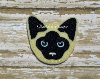 Siamese Cat felties, felt paper clip, badge reel, felt brooch, felt bookmark, planner clip, felt hair clip, key chain, feltie supplies