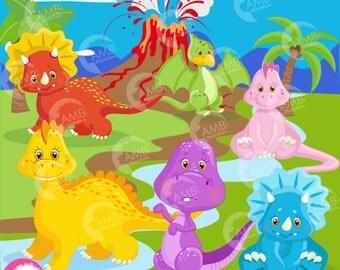 Dinosaur clipart, baby dinosaur,  dinosaur digital clipart, Volcano, background, digital clipart, Commercial Use, AMB-1203