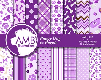 Puppy Dog Papers, Dog digital papers, Purple Dog Digital Backgrounds, Paws pattern papers, invites, card making and crafts, AMB-1068