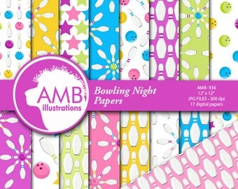 Bowling Night Digital Papers, Pastel Bowling Digital Backgrounds, Bowling Party Papers, Digital Papers, Commercial Use, AMB-936