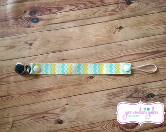 Soothie Pacifier Holder- Chevron Light Blue, Yellow & White