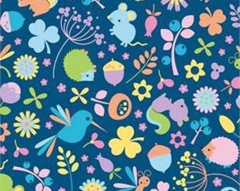 Riley Blake 0.5m 100% Cotton Fabric. Wildflower Meadow in Blue. C4140