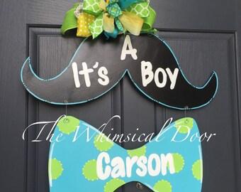 Mustache Baby Boy Door Hanger It's a boy bowtie Hanger