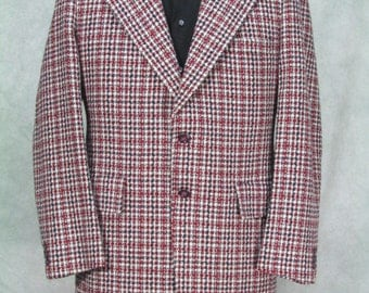 1970s Mens Disco Jacket Sportcoat Red Plaid Loud Well Made 40R 42R Costume Halloween Theater