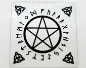 Glass Alter plate / offering plate / cutting board ,Celtic Pagan Runic Pentacle  glass plate with vinyl great pagan gift